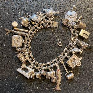 Vintage Sterling Silver Articulated Charm Bracelet
